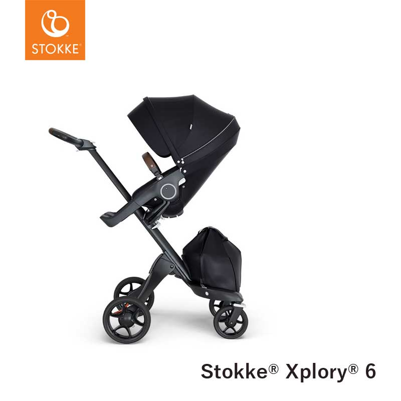 Stokke® Kinderwagen Xplory V6 Black - Brown handvat - Black
