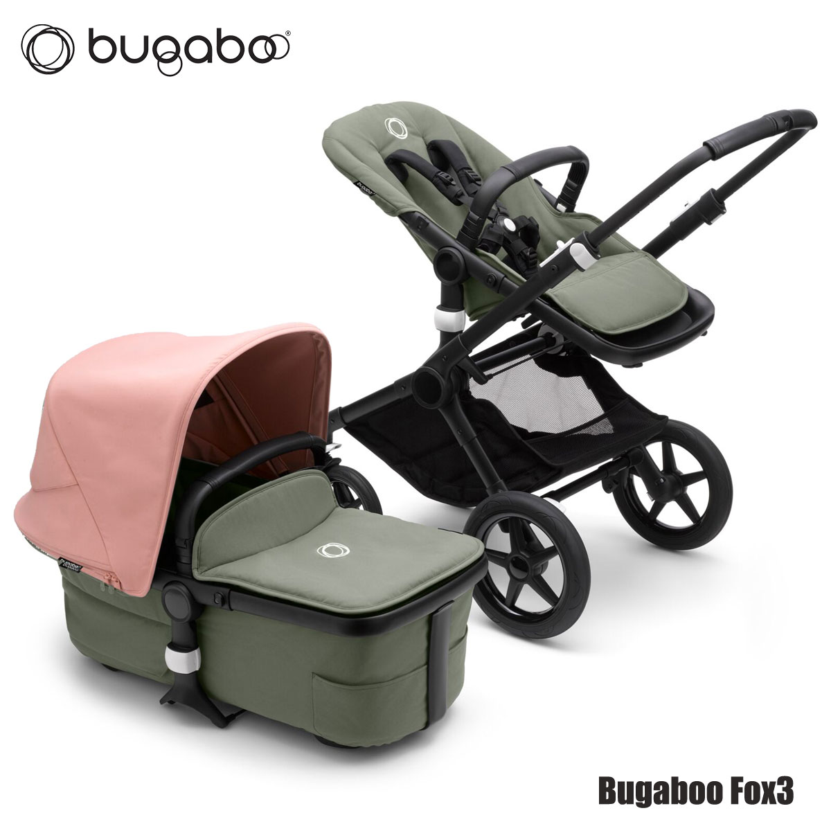 Bugaboo Fox3 Black Forest green Morning pink