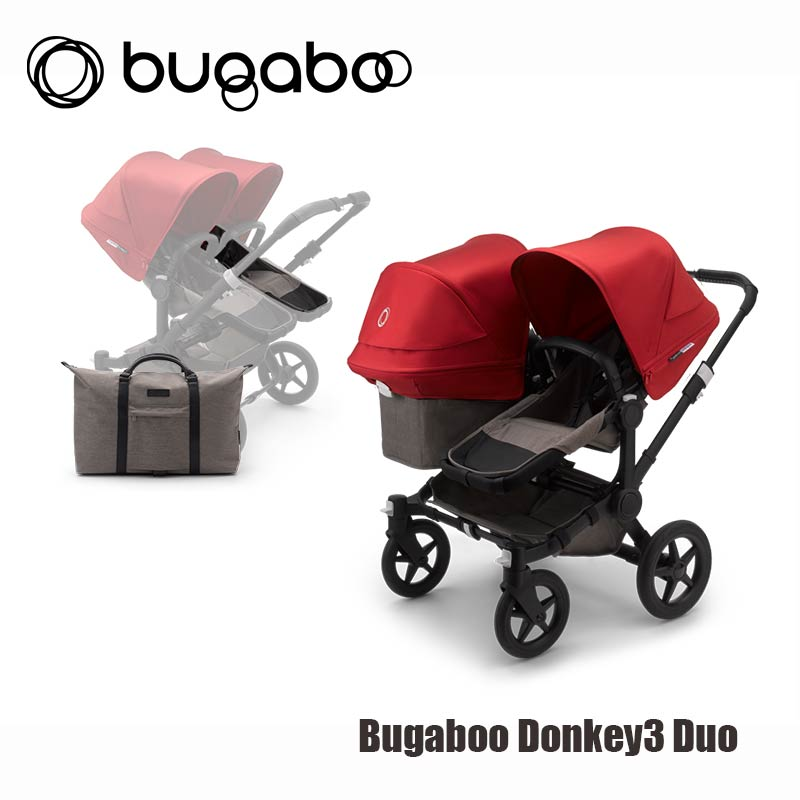 Bugaboo Donkey3 Duo - Zwart Onderstel- Mineral Taupe Style Set- Rood