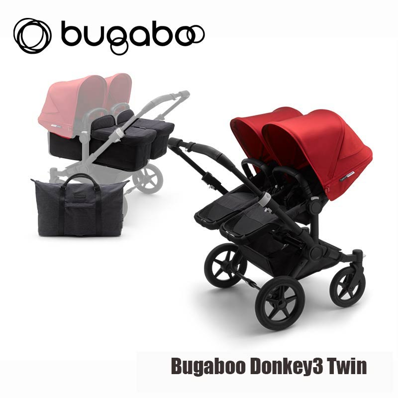Bugaboo Donkey3 Twin - Zwart Onderstel- Mineral Washed Black Style Set- Rood