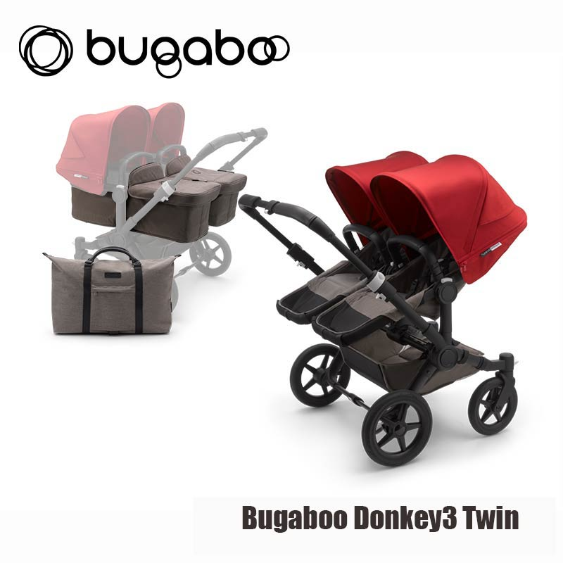 Bugaboo Donkey3 Twin - Zwart Onderstel- Mineral Taupe Style Set- Rood