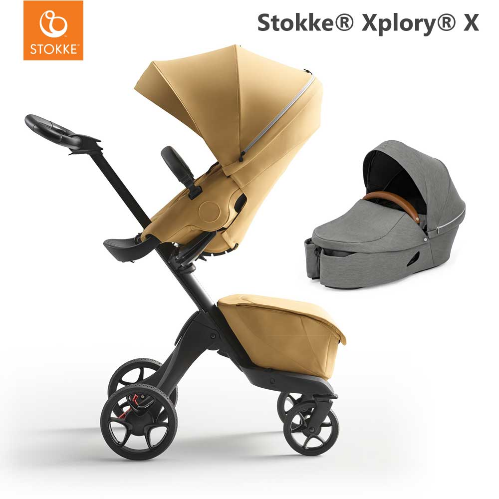 Stokke Xplory X Golden Yellow + Carry Cot Modern Grey