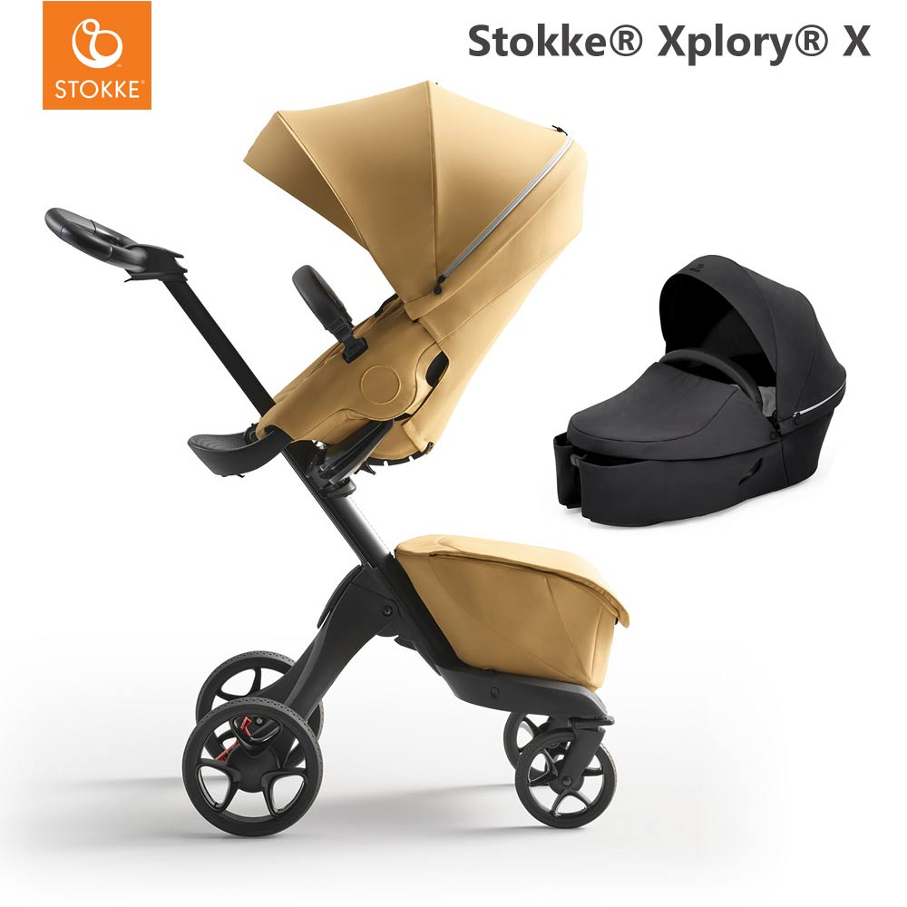 Stokke Xplory X Golden Yellow + Carry Cot Rich Black