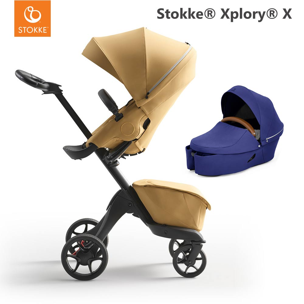 Stokke Xplory X Golden Yellow + Carry Cot Royal Blue