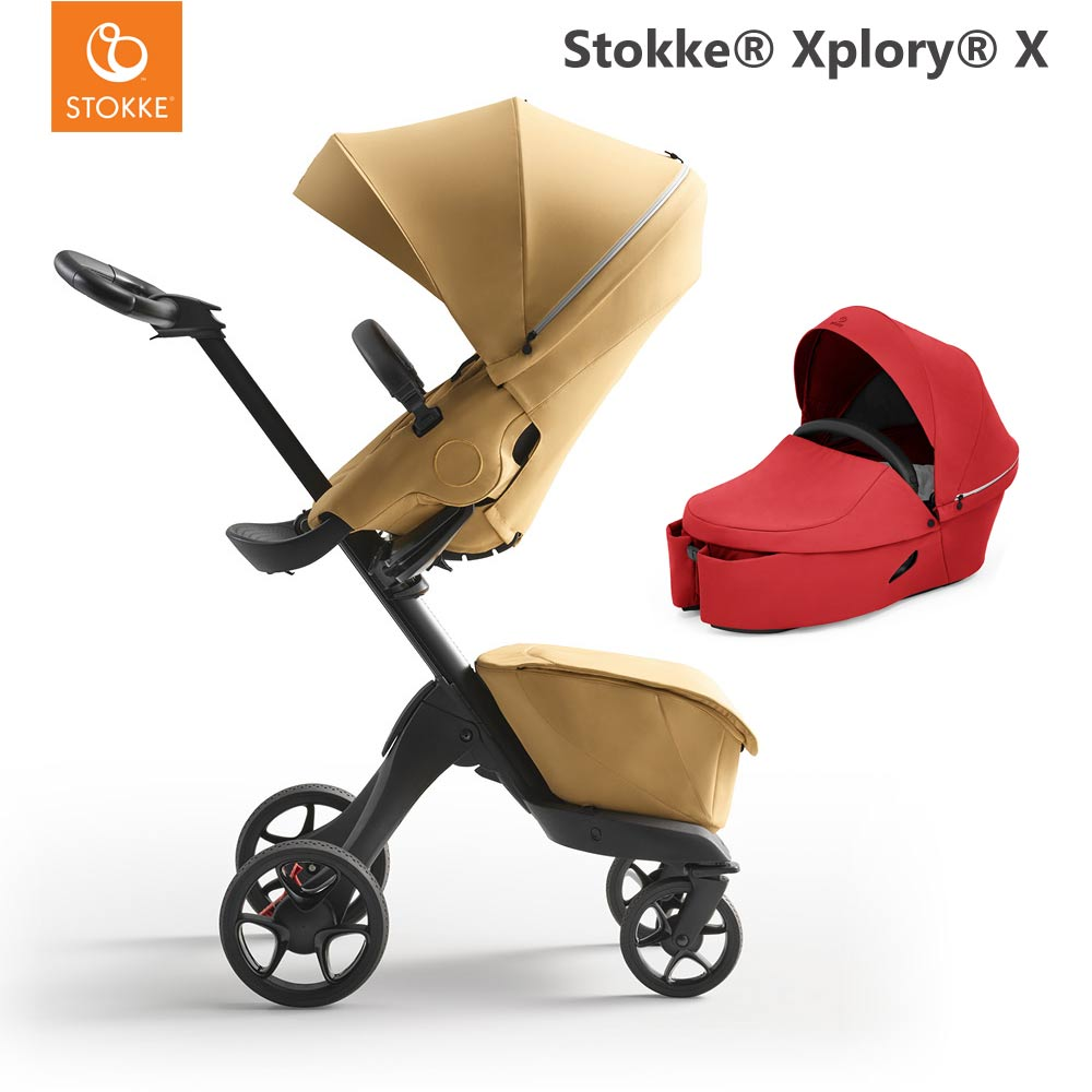 Stokke Xplory X Golden Yellow + Carry Cot Ruby Red