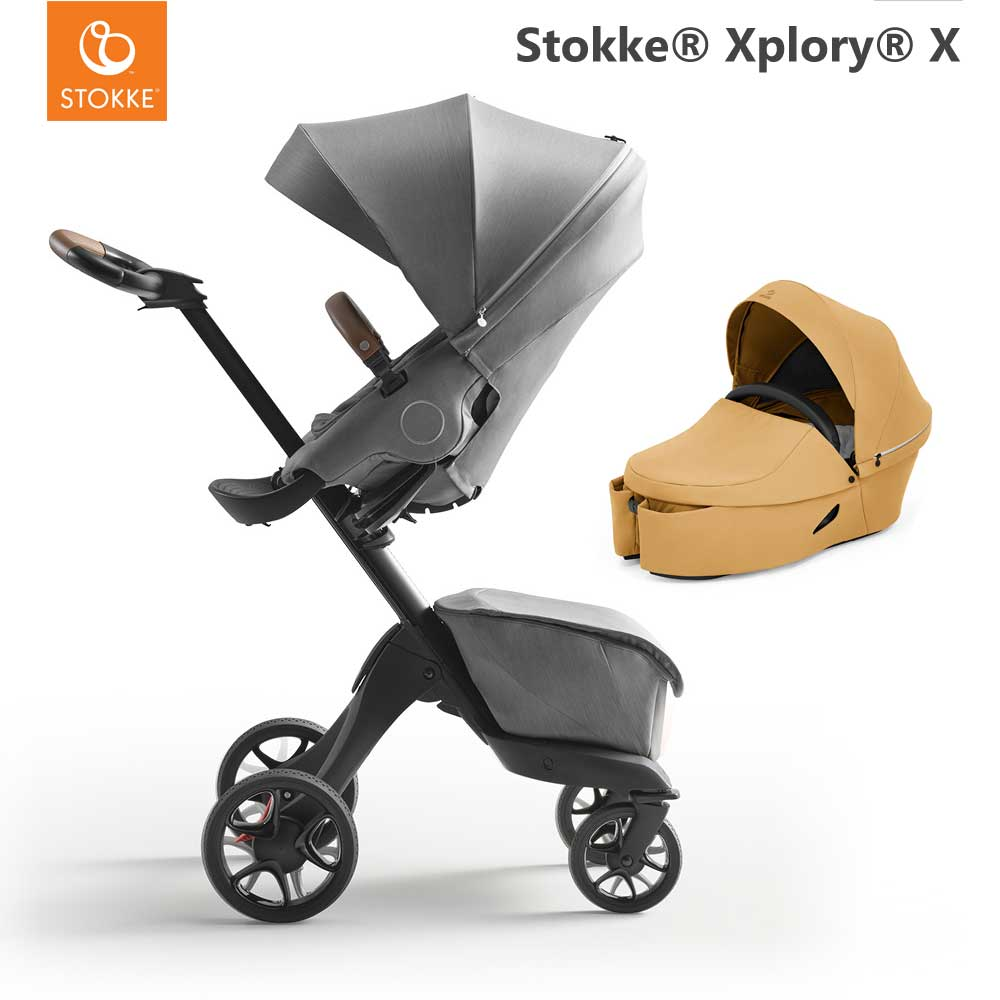 Stokke Xplory X Modern Grey + Carry Cot Golden Yellow