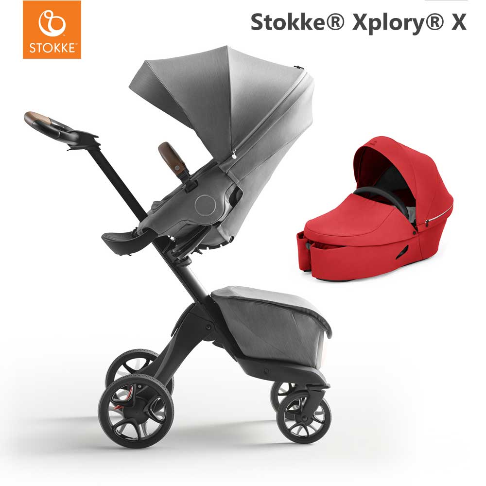 Stokke Xplory X Modern Grey + Carry Cot Ruby Red