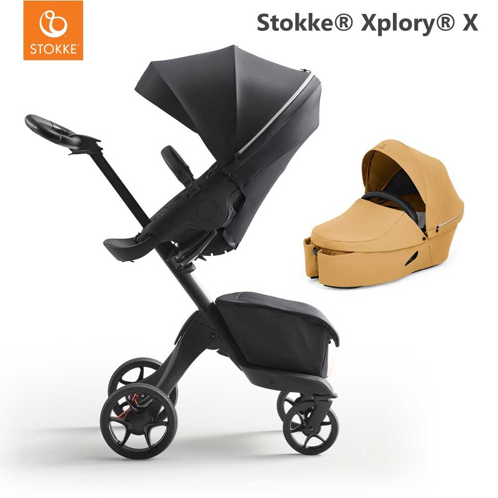 Stokke Xplory X Rich Black + Carry Cot Golden Yellow