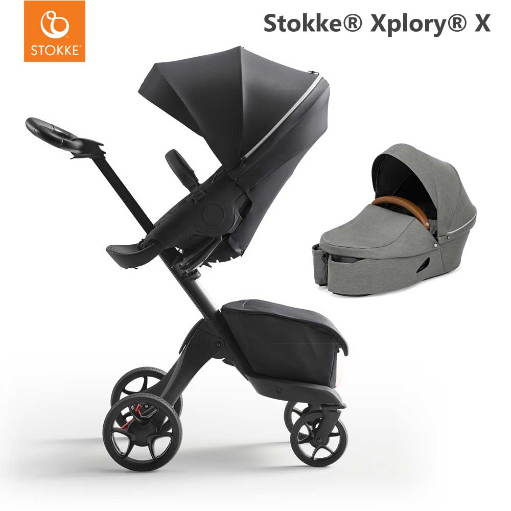 Stokke Xplory X Rich Black + Carry Cot Modern Grey