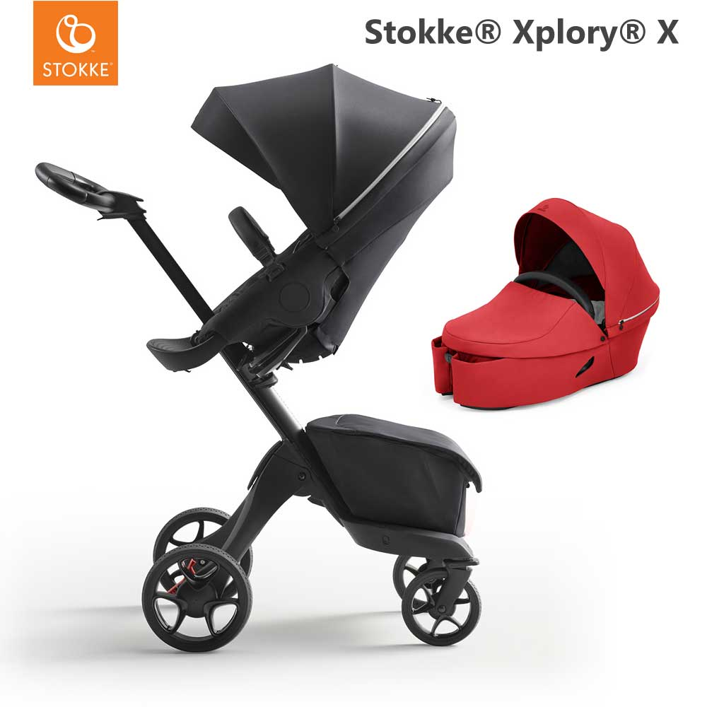 Stokke Xplory X Rich Black + Carry Cot Ruby Red