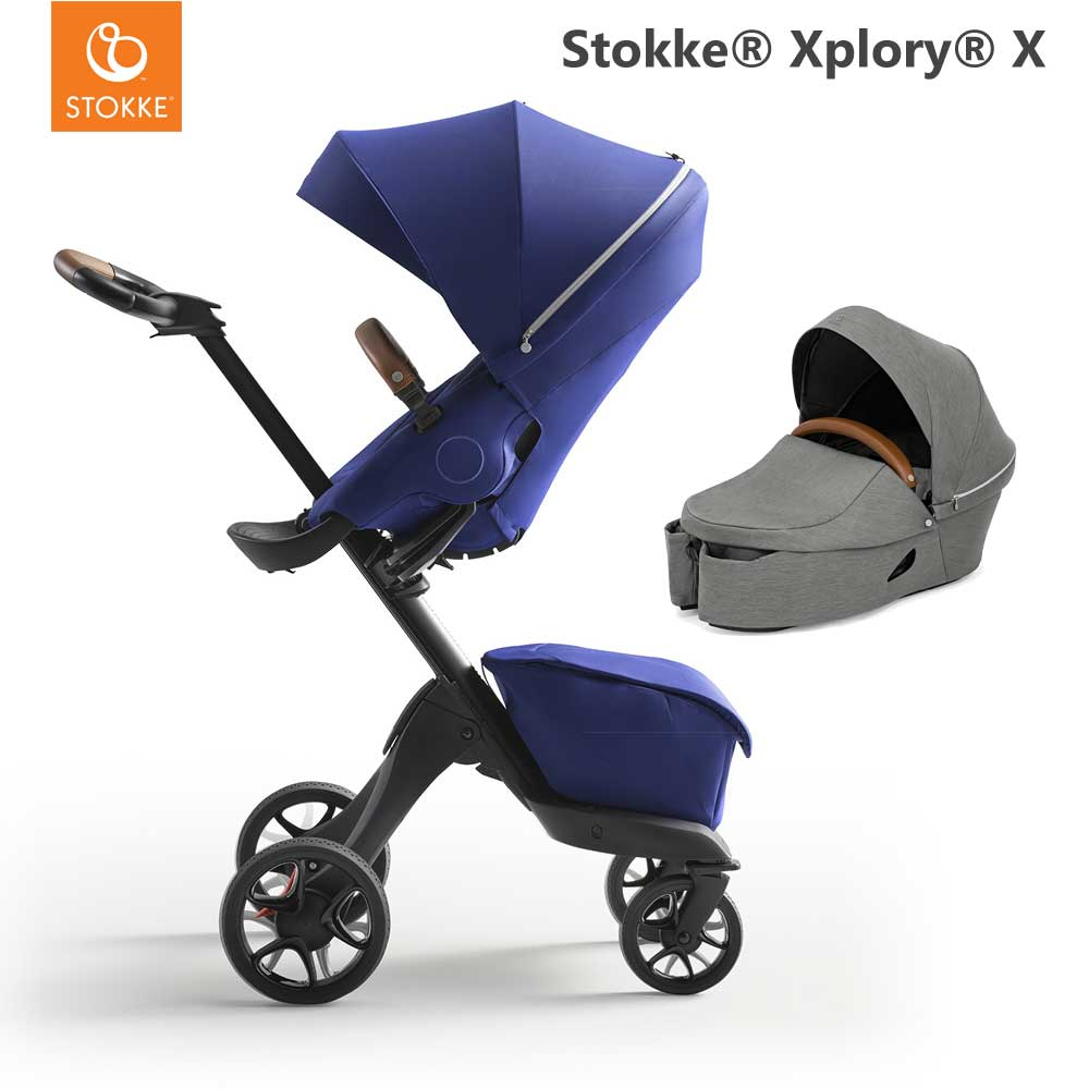 Stokke Xplory X Royal Blue + Carry Cot Modern Grey