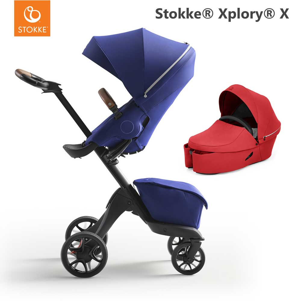 Stokke Xplory X Royal Blue + Carry Cot Ruby Red