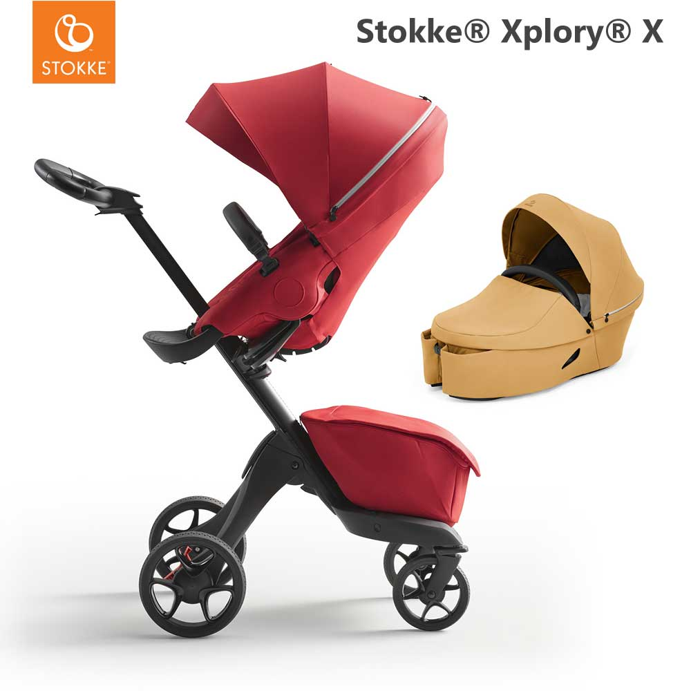 Stokke Xplory X Ruby Red + Carry Cot Golden Yellow