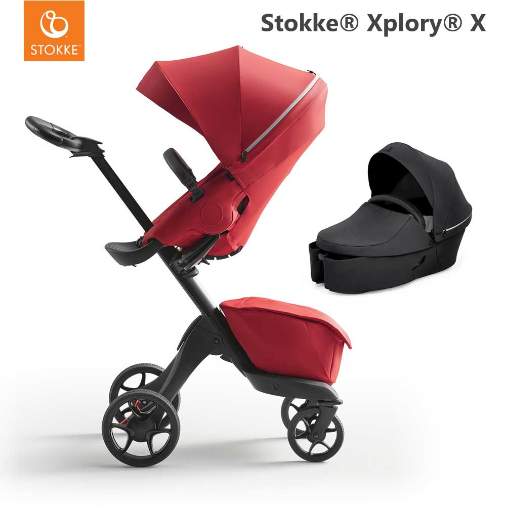 Stokke Xplory X Ruby Red + Carry Cot Rich Black