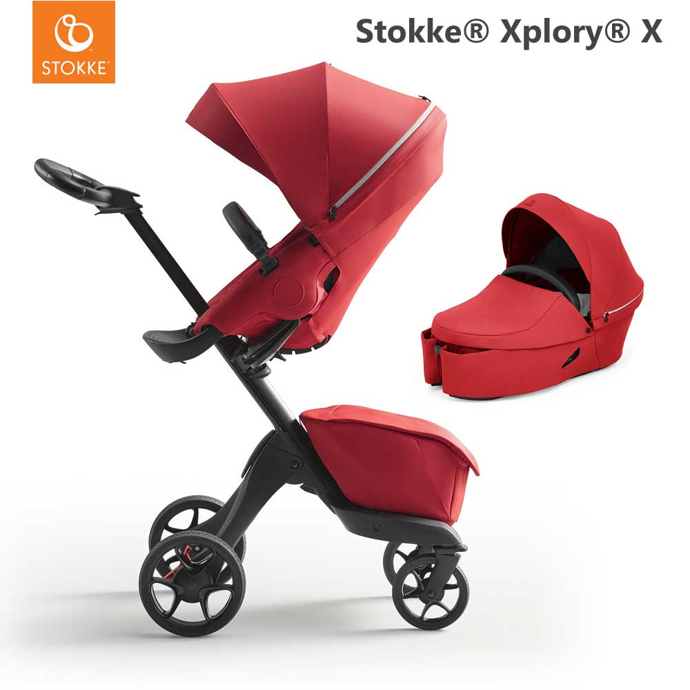 Stokke Xplory X Ruby Red + Carry Cot Ruby Red