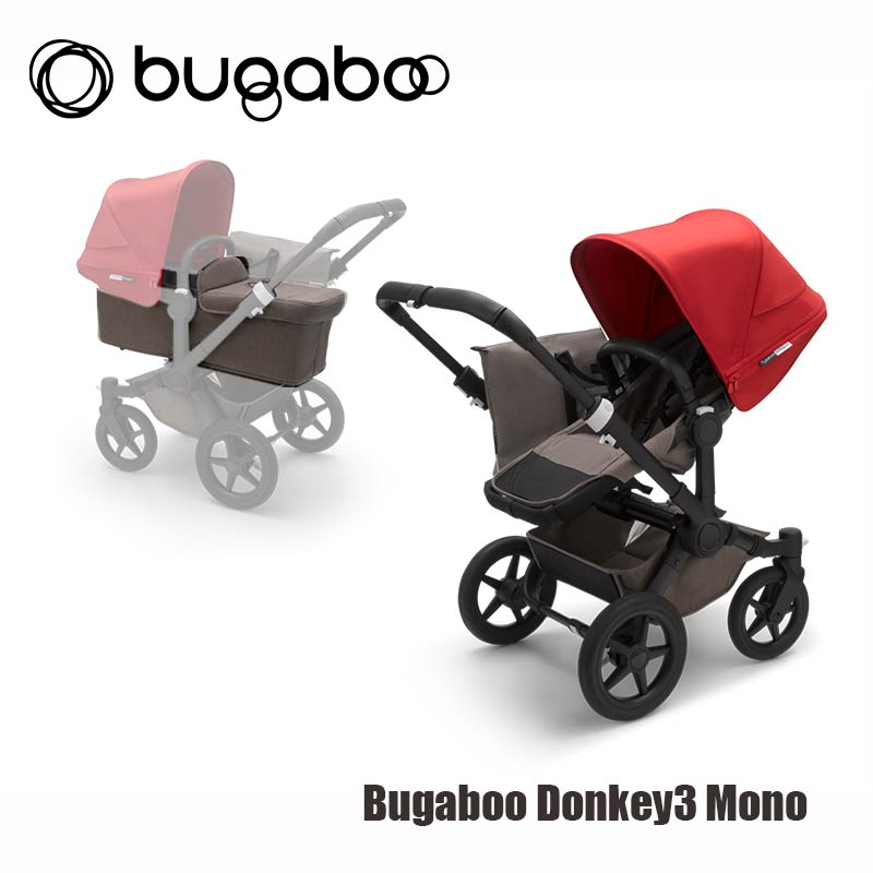Bugaboo® Donkey3 Mono - Zwart Onderstel- Mineral Taupe Style Set- Rood