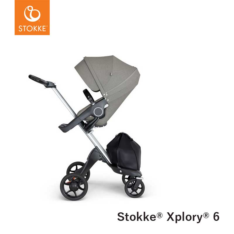 Stokke®  Kinderwagen Xplory V6 Silver - Black handvat - Brushed Grey