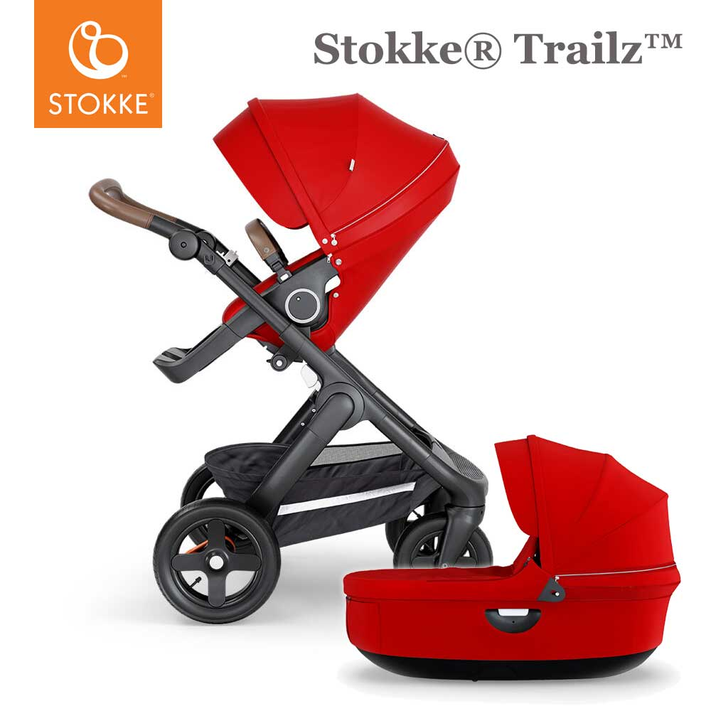Stokke® Trailz™ Terrein Wielen - Brown Handvat - Red - Incl. Reiswieg