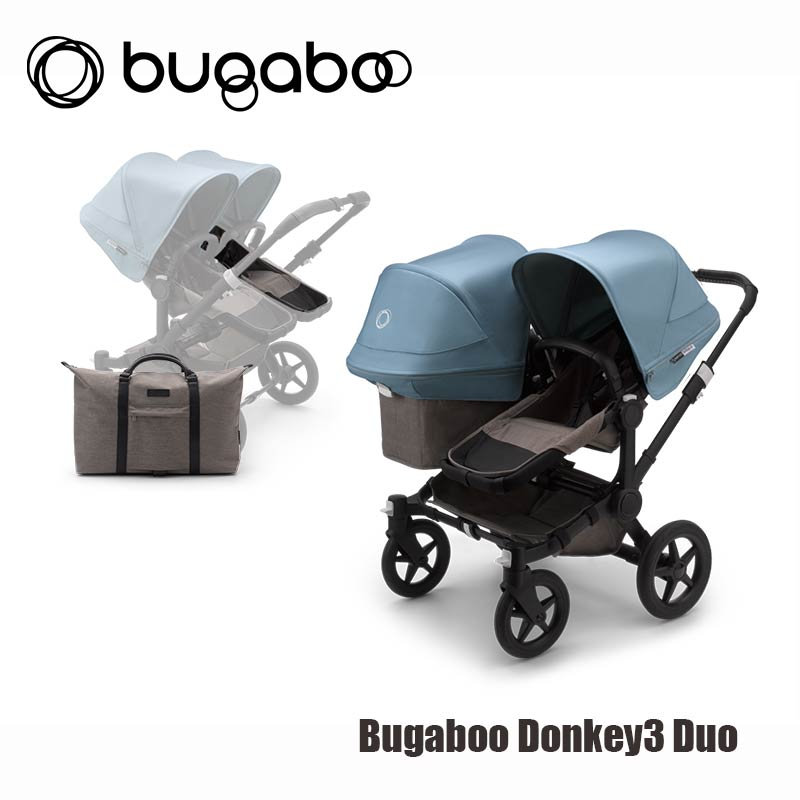 Bugaboo Donkey3 Duo - Zwart Onderstel- Mineral Taupe Style Set- Vapor Blue