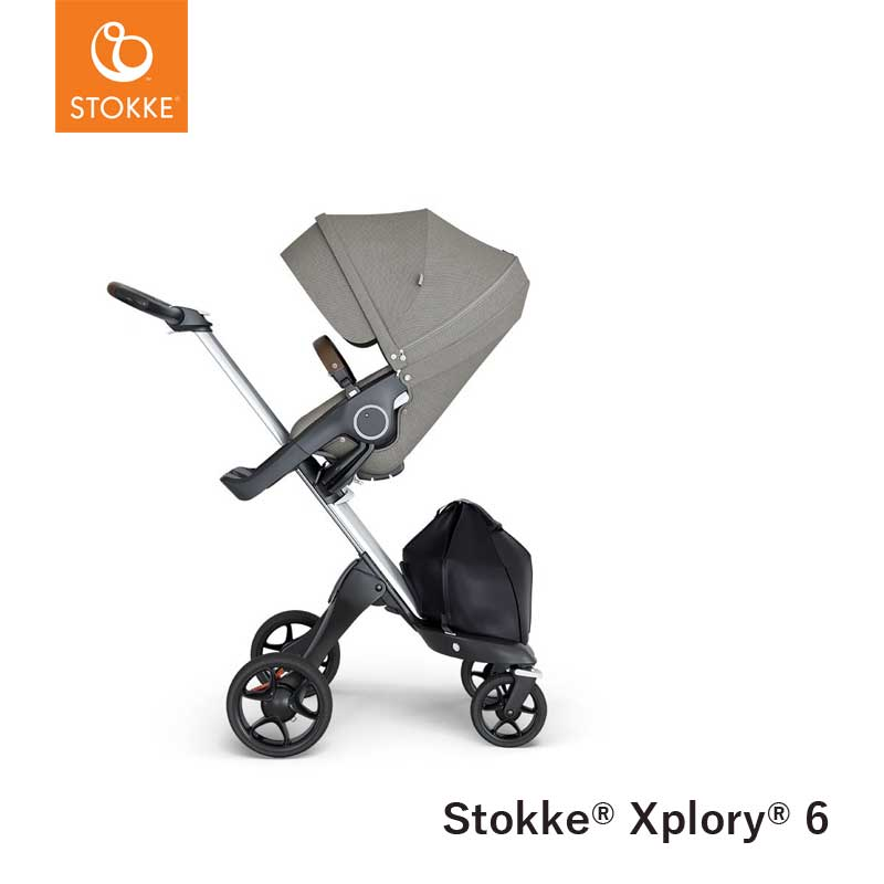 Stokke® Kinderwagen Xplory V6 Silver - Brown handvat - Brushed Grey